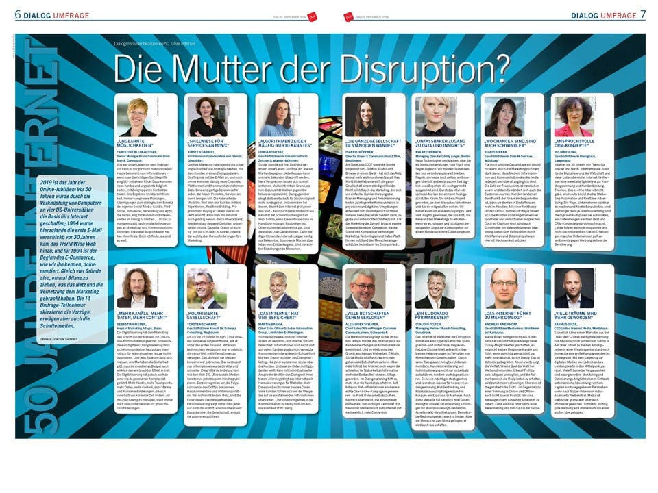 "Dialog 3 Umfrage. ""Die Mutter der Disruption?"""